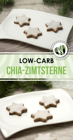 The Chia cinnamon stars are low carb, vegan and gluten free. The Chia cinnamon stars are low carb, vegan and gluten free. Low Carb Desserts, Low Carb Recipes, Snack Recipes, Vegetarian Recipes, Paleo Dessert, Cupcakes Keto, Superfood, Dieta Paleo, Diet Snacks