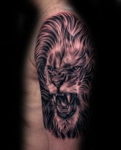 Half Sleve Angry Lion Tattoos For Men