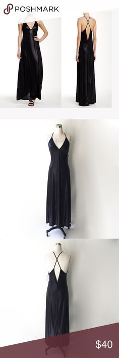 """American Apparel Metallic Black Liquid Maxi Dress American Apparel metallic black jersey strappy maxi dress. Slips on overhead. Unlined. 93% Polyester 7% Elastane. Excellent drape and about 3"""" of comfortable stretch. Made in USA. NWT and in perfect condition.  Size Small. Length 58"""" American Apparel Dresses Maxi"""