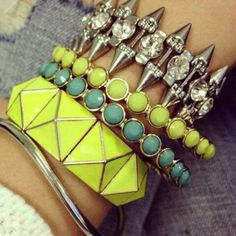 Love this neon arm party spotted on Pose!