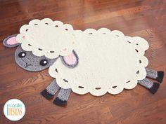 Crochet pattern PDF by IraRott for making an Easter lamb rug or sheep reading mat using Bernat Blanket yarn