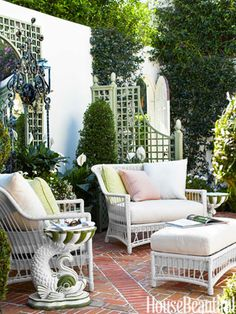 """""""Wicker is typical Palm Beach,"""" designer Mimi McMakin says. """"And the new synthetics are a godsend."""""""