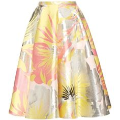 Rochas Floral-jacquard A-line skirt ($525) ❤ liked on Polyvore featuring skirts, pink multi, knee length a line skirt, floral print skirt, a line flared skirt, pink a line skirt and below knee skirts