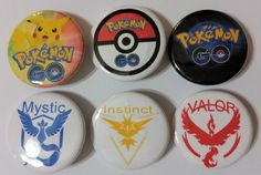 Pokemon GO Badge Button Pin Party Favors Stocking Stuffers set of 6