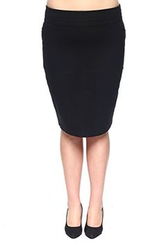 f957deec9c8cd Rokoko Womens PlusSize Solid StraightFit Pencil Chic Suit Skirt 2XL Black     Check out this