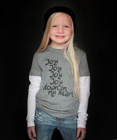 Look at this #zulilyfind! Heather Gray & White 'Joy' Layered Tee - Toddler & Kids #zulilyfinds