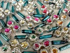 Vintage Mercury Glass Bead Garland, Double Indent Bead Garland, Aqua Pink, Vintage Christmas