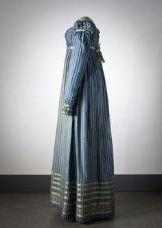 Ribbon Trimmed Striped Dress, ca. via Nordic Museum Jane Austen, Antique Clothing, Historical Clothing, Historical Costume, Historical Dress, 1800s Fashion, Vintage Fashion, Regency Dress, Regency Era