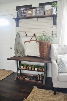 """New entryway table - potting bench style. A great way to spice up a small entryway when there is not really an entryway available. See how to create a """"faux entryway""""."""