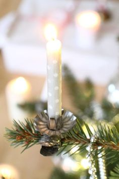 German Christmas Tree candles. Find the holders and candles to go with them at www.mygrowingtraditions