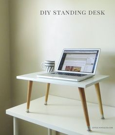 Got back pain? Try using a standing desk! No need to spend hundreds or thousands of dollars on a fancy standing desk. Turn your current desk into a standing deck with this easy DIY tabletop add-on project! Home Office Organization, Home Office Decor, Office Desk, Home Decor, Ikea Office, Work Desk, Organizing, Desk Redo, Diy Desk