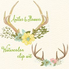 5.5 USD  Antlers and Flowers - Watercolor floral antlers, Clip art flowers with deer horn, Wedding floral digital clip art, Watercolor clip art