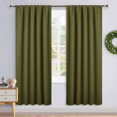 NICETOWN Window Curtains Blackout Drapes - Thermal Insulated Solid Rod Pocket Blackout Curtains/Draperies for Christmas Living Room (Olive Green, 1 Pair, 52 by Olive Green Curtains, White Sheer Curtains, Curtains And Draperies, Printed Curtains, Grommet Curtains, Window Curtains, Living Room Green, New Living Room, Living Room Bedroom
