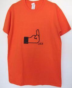Facebook Like Funny Mens Orange T-shirt M #Unbranded #EmbellishedTee