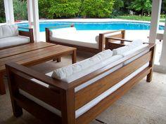 Teak Furniture, Furniture Plans, Outdoor Furniture Sets, Furniture Design, Wooden Sofa Set, Wood Sofa, Sala Set, Sofa Design, Interior Design