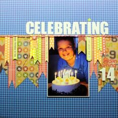 Celebrating 14 Layout by Sheri Feypel using Jillibean Soup's Game Day Chili collection, corrugated alphas, alphabeans, and baker's twine (via the Jillibean Soup blog).