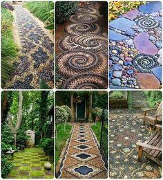 Mosaic stone garden paths