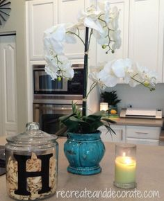 """A DIY kitchen transformation #kitchen #decor #diy I NEED THAT COOKIE JAR WITH AN """"R"""""""