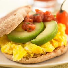 Egg, Avocado & Salsa on an English muffin...Other pinner said: I had this for breakfast yesterday and the day before and it was delicious! (5 Weight Watcher's Points!!! Hell yes!!!)