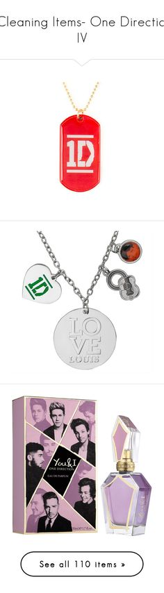 """""""-Cleaning Items- One Direction IV"""" by secretshadow ❤ liked on Polyvore featuring jewelry, necklaces, one direction, pendant necklaces, dog tag jewelry, claires jewelry, claire's jewellery, dog tag necklace, heart shaped charms and heart-shaped jewelry"""