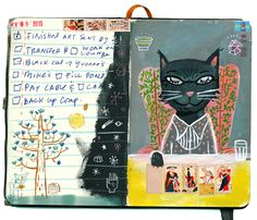 These sketchbook pages by Stephanie Birdsong made me happy this morning. I especially like the combination of illustration with daily 'to-do' list, magical and fun. Artist Sketchbook, Sketchbook Pages, Art Journal Pages, Art Journals, Journal Ideas, Collages, Cat Allergies, Sketchbook Inspiration, Doodle Inspiration