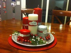 Advent 'wreath': 1. Candle of Hope (Romans 15:12-13) 2. Candle of Love (Luke 3:4-6) 3. Candle of Joy (Luke 2:7-15) 4. Candle of Peace (John 3:16-17) 5. Christ Candle (John 1:29, John 3:1-8) http://www.bible-basics-layers-of-understanding.com/Advent-Wreath.html