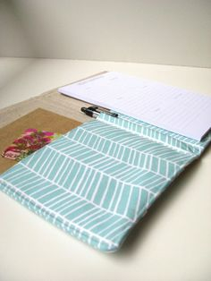 List Taker Organizer  Aqua Herringbone by allisajacobs on Etsy, $30.00