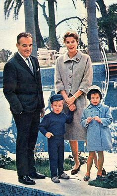 A great color cordinated picture of the royal family of Monaco before HRH Grace has Princess Stephanie.