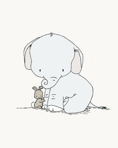 Elephant and Bunny Nursery Art Little Hugs by SweetMelodyDesigns