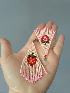 FREE SHIPPING/Strawberry earrings.Long beaded earringsBead