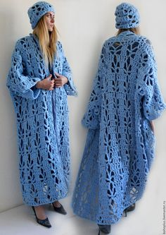Crochet Oversized Chunky Kimono Caftan Cardigan and Hat , Boho Hippie Wear , Winter Trend , Christmas Gift . Gilet Crochet, Crochet Fringe, Crochet Jacket, Crochet Cardigan, Love Crochet, Crochet Shawl, Knit Crochet, Long Cardigan, Modest Fashion