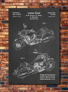 Indian Chief Motorcycle Patent Print Art 2014