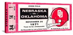 1971 Game of the Century Canvas Art. Made from an authentic 1971 OU vs. Nebraska football ticket! http://www.shop.47straightposters.com/1971-Game-of-the-Century-Nebraska-vs-OU-71-OUNEB.htm