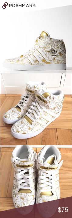 Adidas Forum Up white/gold women's high top Sz 7 Adidas Forum Up white/gold women's high tops Sz 7 worn once excellent condition price is firm Adidas Shoes Sneakers