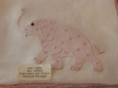8-UNUSED-Madeira-Embroidered-Cocktail-Napkins-Pink-Elephants-Tags