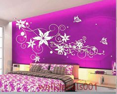 Kids wall decals Wall stickers Murals,Graphics,wall art, Flower with Butterfly for girls room