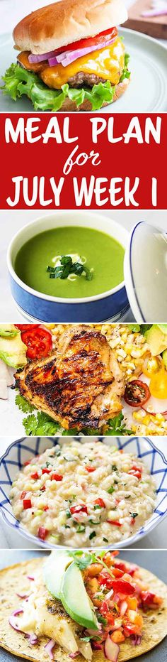 Here's your meal plan for the first week of July! We've got a summer garden risotto, grilled burgers for the fish tacos, and more! Weekly Dinner Menu, Weekly Menu Planning, Meal Planning, Grilling Ideas, Recipe Organization, Simply Recipes, Fish Tacos, Recipe Collections, Good Healthy Recipes