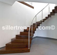 Faltwerktreppen of designer stairs, stairs with glass railing