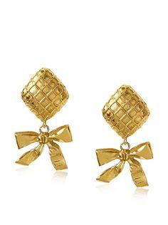 CHANEL Waffle Drop Bow Earrings, http://www.myhabit.com/redirect?url=http%3A%2F%2Fwww.myhabit.com%2F%3F%23page%3Dd%26dept%3Ddesigner%26sale%3DA27KO5QR665ZHF%26asin%3DB00BW742NG%26cAsin%3DB00BW743J4