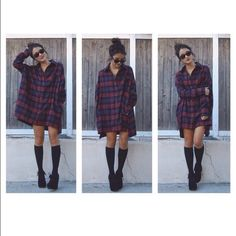 Here is Flannel Dress Outfit Collection for you. Flannel Dress Outfit blouse flannel dress black and white flannel plaid plaid. Flannel Outfits Summer, Flannel Dress, Fall Outfits, Flannel Shirt, Dress Shirt, Curvy Outfits, Grunge Outfits, Red Black Dress, Indie