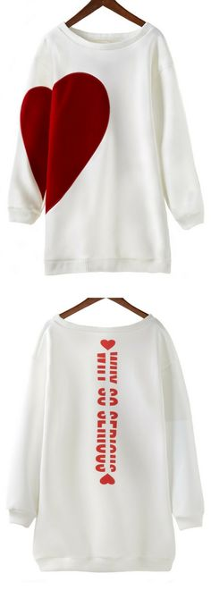 Round Neck Heart Print Long Sleeve White Sweatshirt.