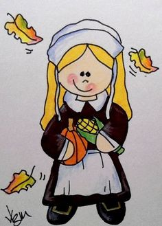 "Aceo Original  ""PILGRIM GIRL""  pencil/ink  #OutsiderArt"