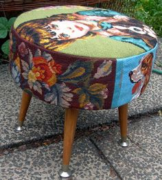 Robyne Melia is Bobby La: New Old Footstool from upcycled tapestries