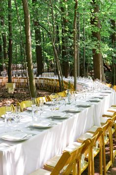 Outdoor wedding - with tables winding through the trees! SO cool!! See the wedding on SMP: http://www.stylemepretty.com/2013/06/07/ohio-wedding-from-heather-waraksa/  Photography: Heather Waraksa