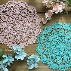 "This doily is 18 rounds and measures 8 1/2"".  This is a photo tutorial, the regular pattern is available here .            Mat..."