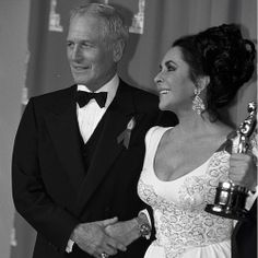 Paul Newman and Elizabeth Taylor backstage at the Academy Awards in 1992. #VFOscars