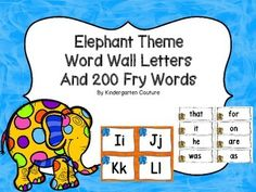 Create a print rich environment by hanging these Elephant (Jungle) Theme Word Wall Letters and Sight Words. Word walls help students learn the names of letters, ABC order, and letter-sound relationships. It provides extra exposure and challenge for students who are at different levels.