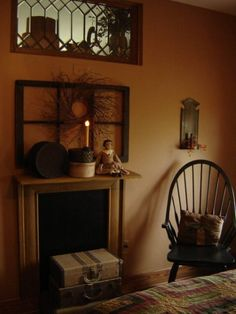 Primitive Decor- mantel ideas....love the window up high too!