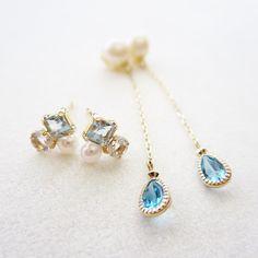 K10YG blue stone pierced earrings #tocca #japan