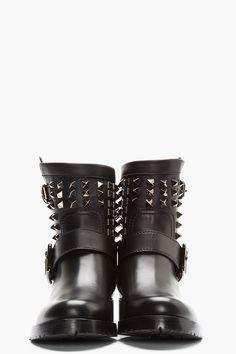 VALENTINO black Studded Biker Boots